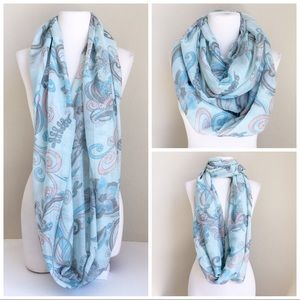 Large blue and pink floral infinity scarf